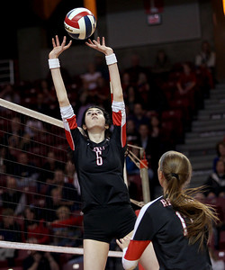 Sarah Nader - snader@shawmedia.com Benet's Stephanie Sinnappan sets the ball during Friday's IHSA Class 4A semifinal against Crystal Lake South at Illinois State University in Normal, IL November 15, 2013. Benet won, 2-0.