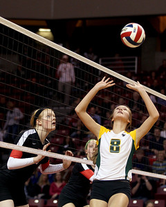 Sarah Nader - snader@shawmedia.com Crystal Lake South's Cassy Sivesind sets the ball during Friday's IHSA Class 4A semifinal against Benet at Illinois State University in Normal, IL November 15, 2013. Crystal Lake South lost, 0-2.