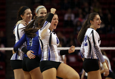 Sarah Nader - snader@shawmedia.com St. Francis' Lisa Mordell celebrates after winning Friday's  IHSA Class 3A state semifinals against Central at Illinois State University in Normal, IL Friday, November 15, 2013. St. Francis won, 2-0.
