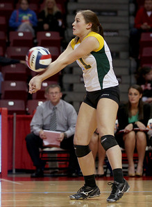 Sarah Nader - snader@shawmedia.com Crystal Lake South's Tori Falbo returns the ball during Friday's IHSA Class 4A semifinal against Benet at Illinois State University in Normal, IL November 15, 2013. Crystal Lake South lost, 0-2.