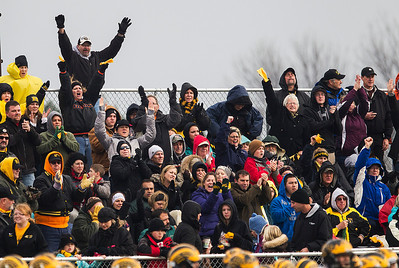Kyle Grillot - kgrillot@shawmedia.com   Harvard fans celebrate an interception in the third quarter during the third quarter of the third-round Class 4A football playoff game between Harvard and Rockford Lutheran Saturday in Rockford. Rockford Lutheran won the game 28-24.