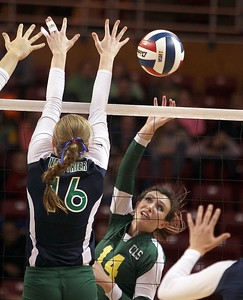 Sarah Nader - snader@shawmedia.com Crystal Lake South's Avalon Nero hits the ball over during Saturday's third-place match against New Trier at the IHSA Class 4A state final at Illinois State University in Normal, IL November 16, 2013. Crystal Lake South lost to New Trier and finished fourth place at state.