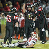 Aurora Christian's Jack Burke (51) and Jonah Walker (65) react after a defensive stop against Stillman Valley's Jacob Hoey (23) during the 3A semi-final football game<br /> at Aurora Christian High School in Aurora , IL on Saturday, November 23, 2013 (Sean King for Shaw Media)