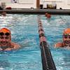 Jeff Krage – For Shaw Media<br /> St. Charles East swimmer's Isabel Herb, left, and Jordan Morling in the pool during Monday's practice. <br /> St. Charles 11/10/14