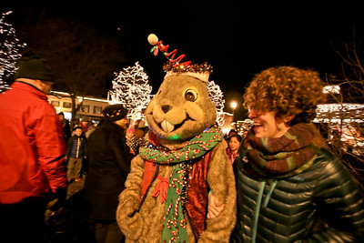 Michelle LaVigne/ For Shaw Media Woodstock Willie is led through the square by his escort Elli Krandel of Chicago after taking a part in the holiday lighting event on Friday, November 27th, 2015.