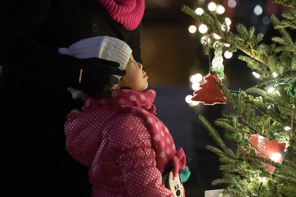 Cheri Leonards, 6, of Batavia looks at various ornaments on holiday tree during the Batavia celebration of lights festival at Batavia Riverwalk in Batavia, IL on Sunday, November 29, 2015 (Sean King for Shaw Media)