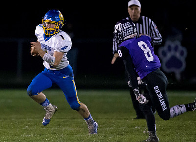 KKoontz - For Shaw Media Johnsburg's Blake Lemcke returns a kickoff in the Class 4A second round playoff game held Friday, Nov. 4, 2016 in Manteno.  Johnsburg went on to defeat Manteno 49-35.
