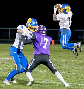 KKoontz - For Shaw Media Johnsburg's Alex Peete makes a catch in the Class 4A second round playoff game Friday, Nov. 4, 2016 in Manteno.