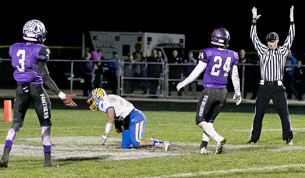KKoontz- For Shaw Media Johnsburg's Nico LoDolce catches a pass in the endzone in the Class 4A second round playoff game  Friday, Nov. 4, 2016 in Manteno.