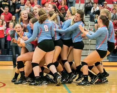 Marian Central celebrates their win over Rosary High School Saturday, Nov. 5, 2016 at the Class 3A Super Sectionals held at Marian Central Catholic High School in Woodstock IL. With the win Marion now advances to the State Semifinals. KKoontz- for Shaw Media