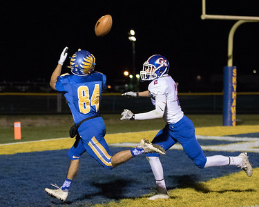 Johnsburg's Nico LoDolce (84) catches a perfectly thrown pass from quarterback Riley Buchanan putting the Skyhawks up 21-0 in the second quarter of the Class 4A Quarterfinal playoff game held Friday, Nov. 11th, 2016 at Johnsburg High School. Johnsburg went on to defeat Genoa Kingston 42- 13 advancing them to the state semifinals. KKoontz- For Shaw Media
