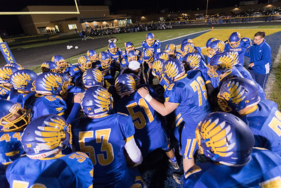 Johnsburg coach Namon Johnson fires the team up before the Class 4A Quarterfinal playoff game held Friday, Nov. 11th, 2016 at Johnsburg High School.  Johnsburg went on to defeat Genoa Kingston 42- 13 advancing them to the state semifinals. KKoontz- For Shaw Media