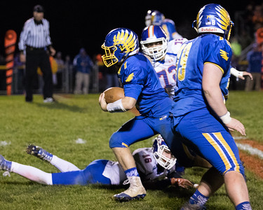 Johnsburg's Blake Lemke (1) returns a Genoa Kingston punt 35 yards with 7:34 in the second quarter putting the Skyhawks up 6-0 in the Class 4A Quarterfinal playoff game held Friday, Nov. 11th, 2016 at Johnsburg High School.  Johnsburg went on to defeat Genoa Kingston 42- 13 advancing them to the state semifinals. KKoontz- For Shaw Media