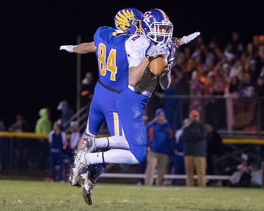 Genoa – Kingston's Zach Miller (2) intercepts a pass intended for Johnsburg's Nico LoDolce (84) in the Class 4A Quarterfinal playoff game held Friday, Nov. 11th, 2016 at Johnsburg High School.  Johnsburg went on to defeat Genoa Kingston 42- 13 advancing them to the state semifinals. KKoontz- For Shaw Media