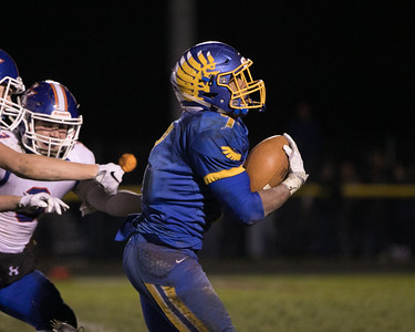 Johnsburg's Alex Peete (7) breaks away for a 35 yard touchdown in the fourth quarter during the Class 4A Quarterfinal playoff game held Friday, Nov. 11th, 2016 at Johnsburg High School.  Johnsburg went on to defeat Genoa Kingston 42- 13 advancing them to the state semifinals. KKoontz- For Shaw Media