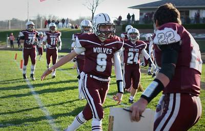 Freshman quarterback Connor Lydon celebrates his touchdown during the fourth quarter of their Class 6A quarterfinal playoff game against Lake Forest at Prairie Ridge High School on Saturday, November 12, 2016 in Crystal Lake, Ill. The Wolves defeated the Scouts 71-7.  John Konstantaras photo for the Northwest Herald