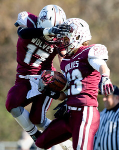Cole Brown (23) of Prairie Ridge celebrates his first quarter touchdown with Nicholas Hamilton (17) during their Class 6A quarterfinal playoff game against Lake Forest at Prairie Ridge High School on Saturday, November 12, 2016 in Crystal Lake, Ill. The Wolves defeated the Scouts 71-7.  John Konstantaras photo for the Northwest Herald