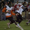 St Charles East's Clayton Isbell looks for running room against Palatine on Nov. 12 at the Class 8A Playoff game in Palatine.