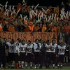 St Charles East fans cheer the Saints on against Palatine on Nov. 12 at the Class 8A Playoff game in Palatine.