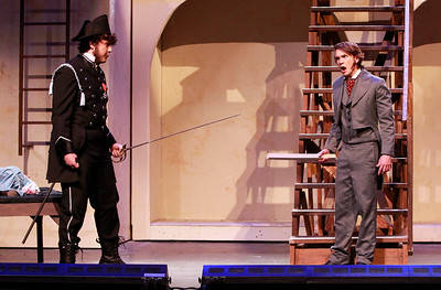 Candace H. Johnson-For Shaw Media Joe Grudt, as Javert, works on a scene with Ethan Lupp, as Jean Valjean, during the dress rehearsal of Les Miserables at Wauconda High School.