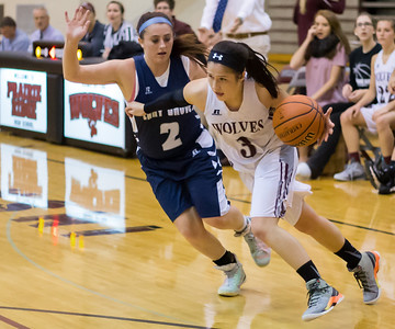 Prairie Ridge's Lauren Brown (3) drives the ball towards the hoop past Cary-Grove's Nicollette Richardi (2) Nov. 15, 2016 at Prairie Ridge High School in Prairie Ridge. Cary-Grove goes on to win 59 – 50. KKoontz - for Shaw Media