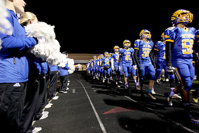 Sarah Nader - snader@shawmedia.com Johnsburg players take the field before Friday's Class 4A semifinal playoff against Phillips Nov. 18, 2016. Johnsburg won in overtime, 23-20.