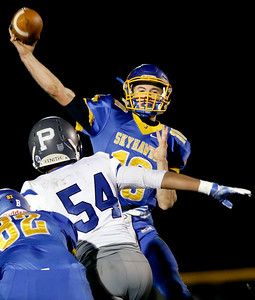 Sarah Nader - snader@shawmedia.com Johnsburg's Riley Buchanan throws a pass during thr second quarter of Friday's Class 4A semifinal playoff against Phillips Nov. 18, 2016. Johnsburg won in overtime, 23-20.