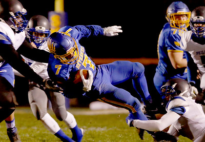Sarah Nader - snader@shawmedia.com Johnsburg's Alex Peete carries the ball during the third quarter of  Friday's Class 4A semifinal playoff against Phillips Nov. 18, 2016. Johnsburg won in overtime, 23-20.