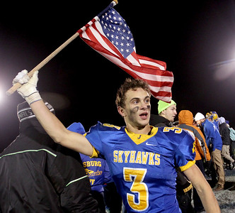 Sarah Nader - snader@shawmedia.com Johnsburg's Conner Bell celebrates after winning Friday's Class 4A semifinal playoff against Phillips Nov. 18, 2016. Johnsburg won in overtime, 23-20.