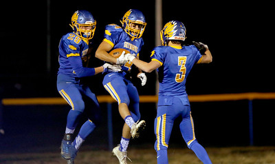 Sarah Nader - snader@shawmedia.com Johnsburg players celebrate after a touchdown during the second quarter of  Friday's Class 4A semifinal playoff against Phillips Nov. 18, 2016. Johnsburg won in overtime, 23-20.