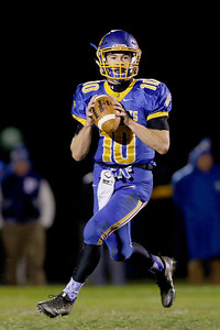 Sarah Nader - snader@shawmedia.com Johnsburg's Riley Buchanan throws a pass during the first quarter of Friday's Class 4A semifinal playoff against Phillips Nov. 18, 2016. Johnsburg won in overtime, 23-20.