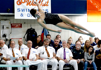 Sarah Nader - snader@shawmedia.com Sterling's Kallie Zuidema competes in the diving final at the IHSA Girls State Swimming Championships at Evanston Township High School Saturday, Nov. 19, 2016. Zuidema finished in third place.