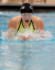 Sarah Nader - snader@shawmedia.com Crystal Lake co-op's Valerie Tarazi of Prairie Ridge competes in the 100-yard breaststroke final at the IHSA Girls State Swimming Championships at Evanston Township High School Saturday, Nov. 19, 2016. Tarazi finished in second place.
