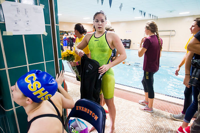 Sarah Nader - snader@shawmedia.com Crystal Lake co-op's Valerie Tarazi of Prairie Ridge after she competed in the 200-yard individual medley in the finals of the IHSA Girls State Swimming Championships at Evanston Township High School Saturday, Nov. 19, 2016. Tarazi came in sixth place with a time of 2:05.59.