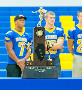 The Johnsburg Skyhawks football team delivered the Class 4A second place trophy to the school Monday Nov. 28, 2016 at Johnsburg High School in Johnsburg. Johnsburg went 14-1 on the season with their only loss coming in the championship game to Rochester.  KKoontz- for Shaw Media