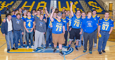 The Johnsburg Skyhawk football team sing their school song during Monday Nov. 28, 2016 at the Johnsburg State Celebration held at Johnsburg High School in Johnsburg. Johnsburg went 14-1 on the season with their only loss coming in the championship game to Rochester.  KKoontz- for Shaw Media