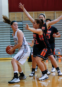 Jordyn Bessler (12) of McHenry defends Emily Perhats (21) of Prairie Ridge during the second quarter of their game at Prairie Ridge High School on Tuesday, November 29, 2016 in Crystal Lake. The Warriors defeated the Wolves 49-38.  John Konstantaras photo for the Northwest Herald