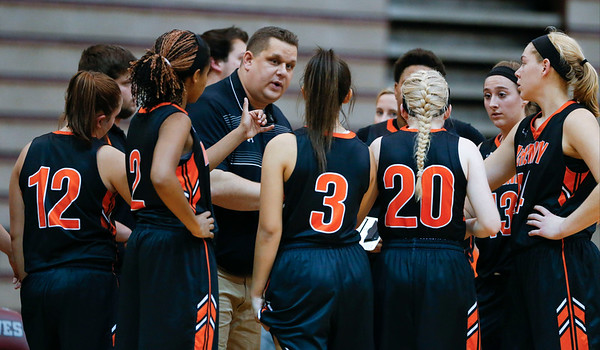 McHenry head coach Rob Niemic talks with his team during the fourth quarter of their game against  Prairie Ridge on Tuesday, November 29, 2016 in Crystal Lake. The Warriors defeated the Wolves 49-38.  John Konstantaras photo for the Northwest Herald