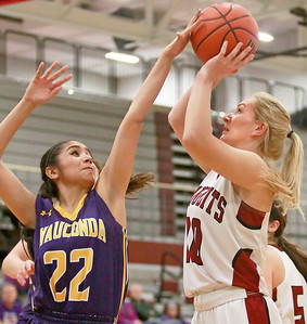 Candace H. Johnson-For Shaw Media Wauconda's Marina Zamudio tries to block a shot by Antioch's Erika Gallimore in the second quarter at Antioch Community High School.