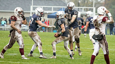 Danny Daigle (21) from Cary-Grove celebrates after recovering a fumble during the fourth quarter of their IHSA Class 6A playoff game against Prairie Ridge at Cary-Grove High School on Saturday, November 4, 2017 in Cary, Illinois. The Wolves defeated the Trojans 17-13. John Konstantaras photo for Shaw Media
