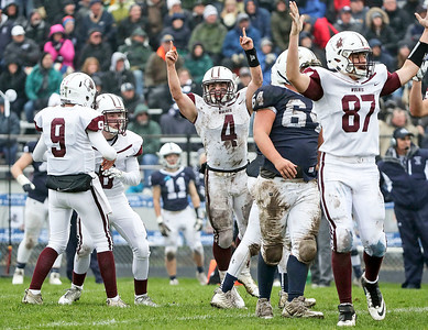 Prairie Ridge players celebrate a field goal by Ryan Kirchberg (6) during the second quarter of their IHSA Class 6A playoff game at Cary-Grove High School on Saturday, November 4, 2017 in Cary, Illinois. The Wolves defeated the Trojans 17-13. John Konstantaras photo for Shaw Media