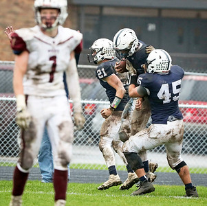 Benjamin Ferrell (6) from Cary-Grove celebrates his touchdown during the fourth quarter of their IHSA Class 6A playoff game against Prairie Ridge at Cary-Grove High School on Saturday, November 4, 2017 in Cary, Illinois. The Wolves defeated the Trojans 17-13. John Konstantaras photo for Shaw Media