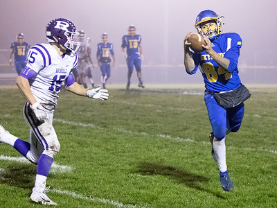 Johnsburg High School senior Nico LoDolce makes a catch and turns up-field during the Class 4A second round playoff game against Rochelle Saturday, November 4, 2017 in Johnsburg. Rochelle went on to upset the Skyhawks 35-16.  KKoontz – For Shaw Media