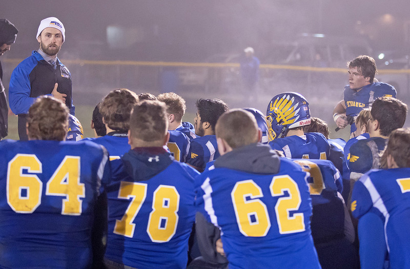 Johnsburg head football coach Dan DeBoeuf talks to his team after losing to Rochelle in the Class 4A second round playoff game against Rochelle Saturday, November 4, 2017 in Johnsburg. Rochelle went on to upset the Skyhawks 35-16.  KKoontz – For Shaw Media