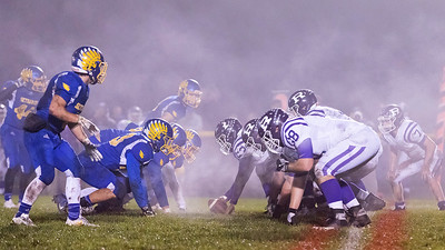 The Johnsburg Skyhawks defense lines up against Rochelle on a foggy night during the Class 4A second round playoff game Saturday, November 4, 2017 in Johnsburg. Rochelle went on to upset the Skyhawks 35-16.  KKoontz – For Shaw Media