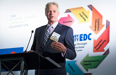 George Richardson, Richardson Farm in Spring Grove, speaks during the awards at the McHenry County Economic Development Corp. annual dinner at the Holiday Inn on Tuesday, November 7, 2017 in Crystal Lake, Illinois. John Konstantaras photo for Shaw Media