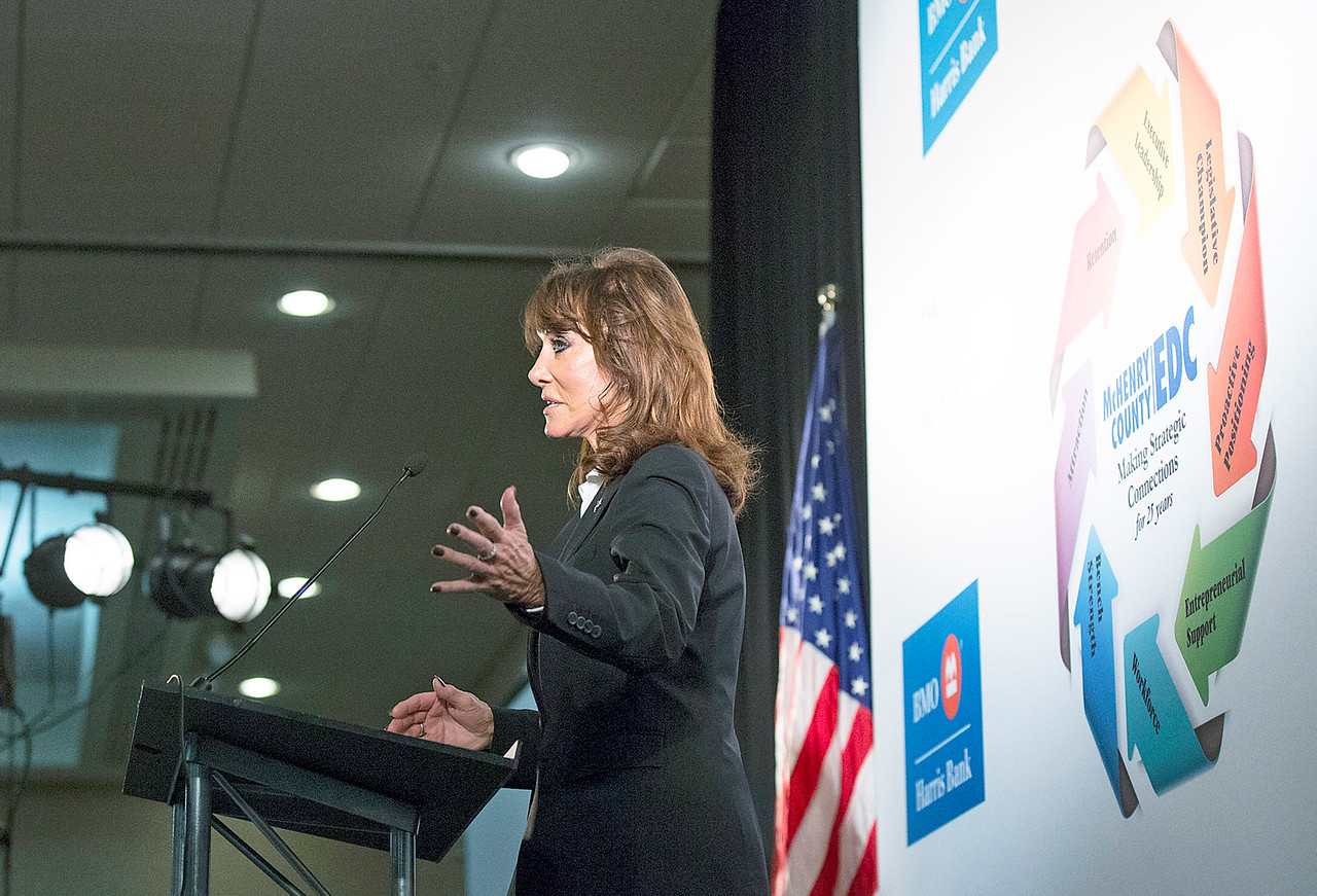 Keynote speaker Diane Hendricks, of ABC Supply Co. speaks at the McHenry County Economic Development Corp. annual dinner at the Holiday Inn on Tuesday, November 7, 2017 in Crystal Lake, Illinois. John Konstantaras photo for Shaw Media