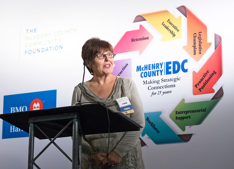 Carla Housh, Utility Business Media in Crystal Lake, speaks during the awards at the McHenry County Economic Development Corp. annual dinner at the Holiday Inn on Tuesday, November 7, 2017 in Crystal Lake, Illinois. John Konstantaras photo for Shaw Media