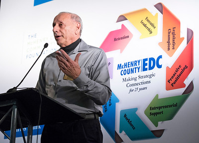 Ron Giordano, H S Crocker in Huntley, speaks during the awards at the McHenry County Economic Development Corp. annual dinner at the Holiday Inn on Tuesday, November 7, 2017 in Crystal Lake, Illinois. John Konstantaras photo for Shaw Media