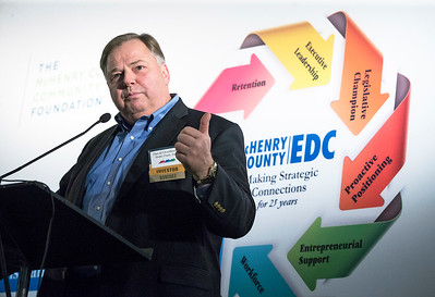 David Overbeeke, Brake Parts LLC in McHenry, speaks during the awards at the McHenry County Economic Development Corp. annual dinner at the Holiday Inn on Tuesday, November 7, 2017 in Crystal Lake, Illinois. John Konstantaras photo for Shaw Media